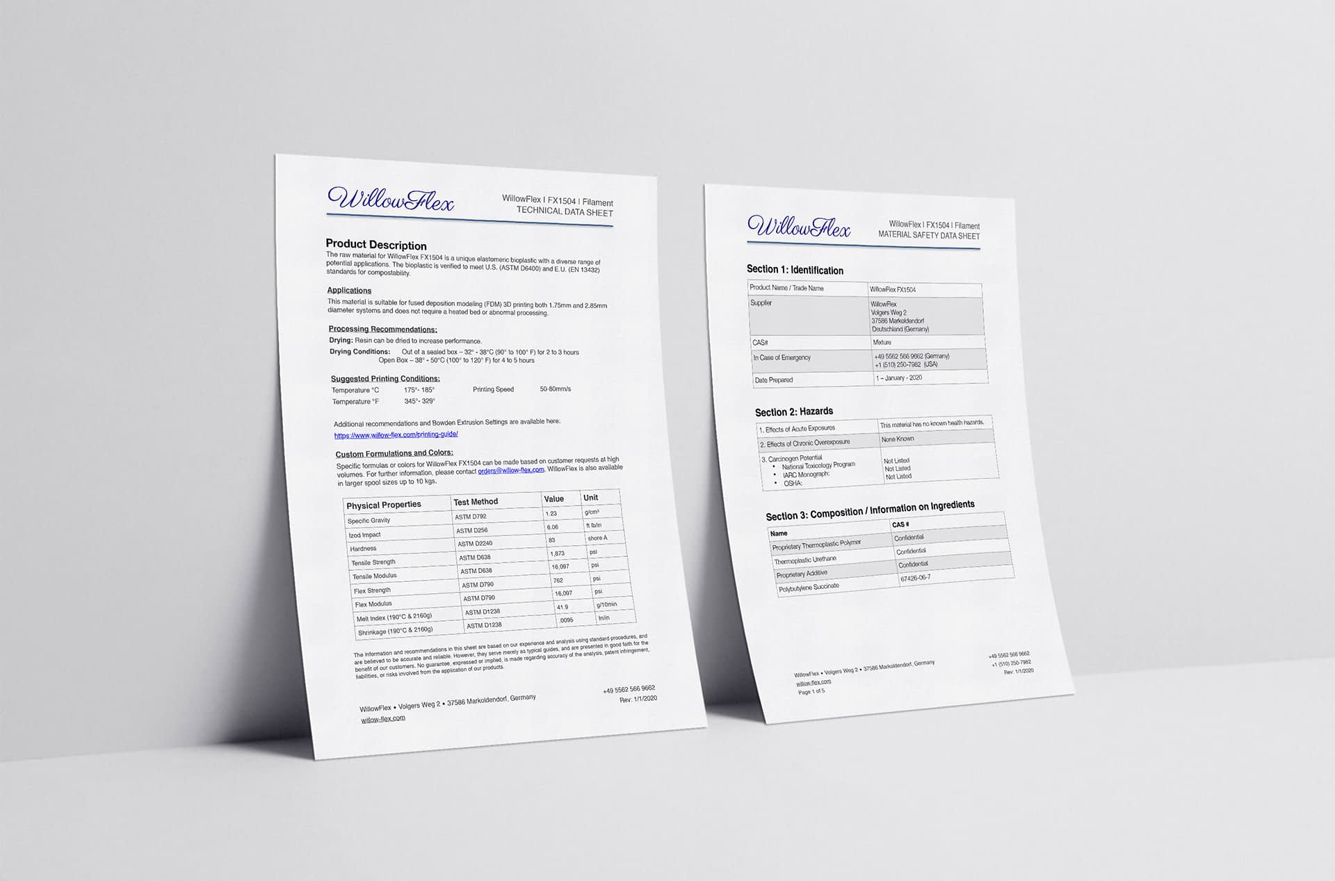 Technical Specifications Sheets for WillowFlex
