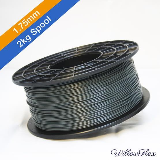 2kg Spool of WillowFlex 3D Print Filament in Charcoal Color